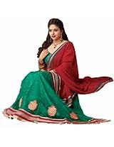 Suchi Women Net Lehenga Saree (Sfjag90192 _Green _Free Size)