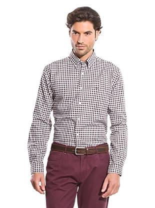Cortefiel Camisa Oxford Gingham (Marrón Oscuro)