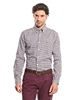 Cortefiel Camisa Oxford Gingham (Marrón Oscuro)