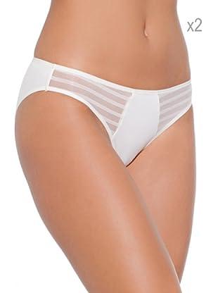 Selene Pack x 2 Braguita  Bikini Tul Rayas (Marfil)