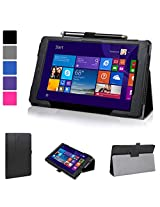 Evecase Nextbook Ares 8 Case (NXA8QC116), SlimBook Leather Folio Stand Case Cover with Magnetic Closure for E-Fun Nextbook Ares with WiFi 8-inch Touchscreen Tablet PC - Black