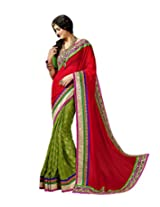 Resham Fabrics Womens's Sari with Unstitched Blouse (RF-20020_Red_Free Size)