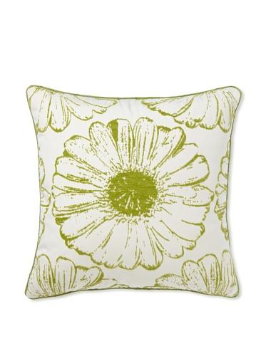 Elsa Blue Gingko Sunflower with Cord Indoor/Outdoor Pillow, Verde Sunflower, 20