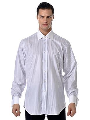 Camicissima Camisa Rayas Gemelos con Puños / Cuello al contraste (Blanco / Azul / Rojo)