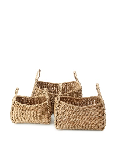 Wald Imports Set of 3 Oversized Seagrass Kalas Baskets (Natural)