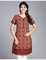 Cotton Ajrak Hem Border Mini Kurta-m-red