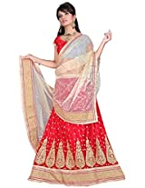 HSFS FAUX GEORGETTE EMBROIDERED LEHENGA CHOLIS