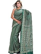 Exotic India Dark-Green Saree from Kolkata with Kantha Embroidery by Han - Green