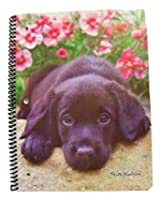 """Keith Kimberlin Spiral Notebook ~ Black Lab with Flowers (8"""" x 10.5""""; 70 Sheets, 140 Pages, Wide Rul"""