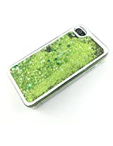 Phoenix Bling Sparkle Glitter Stars Dynamic Liquid Quicksand Clear Hard Case Frame for iPhone 4 4s 4g - Green