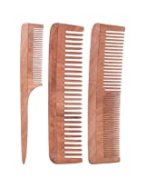 TULIR Neem Wood Comb, Combo of 3 (7 - 7.5 Inches)
