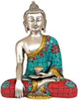 Exotic India Lord Buddha - Brass Statue With Inlay