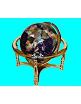 Unique Art 21-Inch by 13-Inch Blue Lapis Ocean Table Top Gemstone World Globe with Gold 4-Leg Table Stand