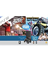 PS2 Console with Motor Storm Arctic Edge and Street Cricket Champions 2