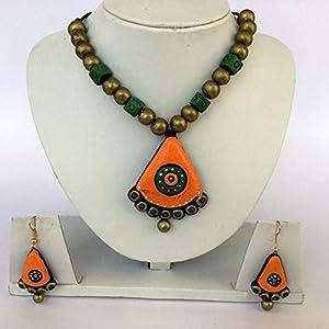 Anikalan Designs Multibead Orange Pendant Terracotta Necklace Set