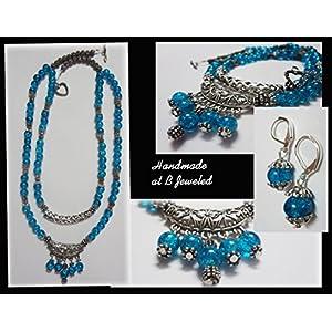 B Jeweled Blue Glass Beads Neckpiece jewellery Set