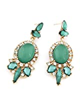 Cinderella Collection by Shining Diva Golden & Green Crystal Hanging Earrings for Women 6972er