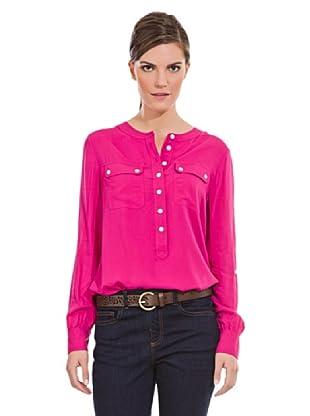 Cortefiel Camisa Bolsillos Plastrón (Rosa)