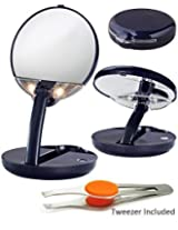 15x Lighted Cobalt Magnifying Personal Compact Mirror