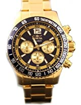 Invicta Signature II Chronograph Navy Dial Gold-Plated Stainless Steel Mens Watch 7410