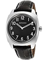 Movado Circa Black Leather Mens Watch 0606586