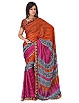 Sehgall Sarees Indian Professional Ethnic Alpheno Print with Lace Border color rust
