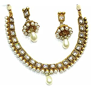 SHINGAR JEWELLERY ANTIQUE GOLD LOOK MOTI NECKLACE SET FOR WOMEN (5400-AS-A)