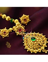 Gold Plated Beaded Jewellery Temple Kempu Pendant Buy Online Screw Earrings