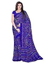 Rajasthani Bandhani Bandhej Blue Color Moss Chunri Sari