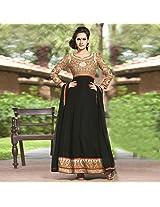 Black Georgette Semi Stitched Anarkali Suit