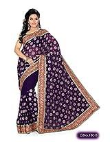 Purple Wedding Wear Saree Stone Zardosi Work Indian Designer Faux Georgette Sari