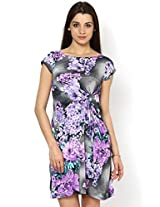 Kaaryah Women Viscose A-Line Dress (Drk11-Grypurp-10 _Grey And Purple _10)