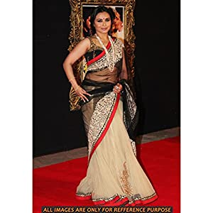 Black White & Cream Colored Rani Mukharjee Replica Bollywood Style Saree - Jab Tak Hai Jaan Premiere By High5Store.com
