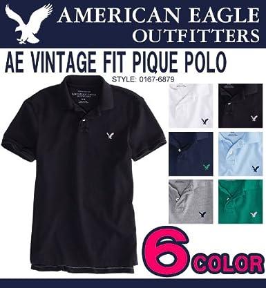 アメリカンイーグル メンズ 半袖 鹿の子ポロシャツ AE VINTAGE FIT PIQUE POLO