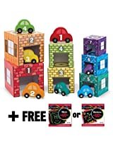 Nesting + Sorting Garages & Cars 14-Piece (7 Garages & 7 Cars) Play Set + FREE Melissa & Doug Scratc