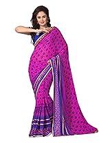 Dlines Megenta coloured Printed saree