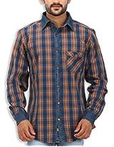 SPEAK Men's Orange Checkered Denim Indigo Cotton Casual Shirt