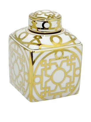 Three Hands Medium Gold Geometric Ceramic Jar