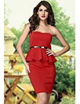Red Off-the-shoulder Evening Peplum Midi Dress