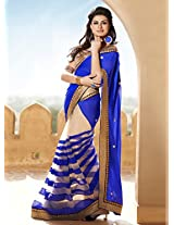 Amazing Royal Blue Georgette Pallu Saree