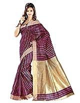 e-Vastram Women's Cotton Silk Saree Multi Colour Vertical Stripes with Tussur Pally & Border (Multi Colour)