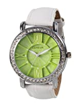 Geneva White Leather Analog Women Watch GL 70 Green White
