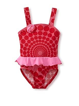 Bathing Beauty by Mack & Co Girl's Spiral Dot One Piece Swimsuit (Pink)
