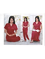 Indiatrendzs Sexy Hot Nighty Honeymoon Nighties red Nightgown 4pc Set -Freesize