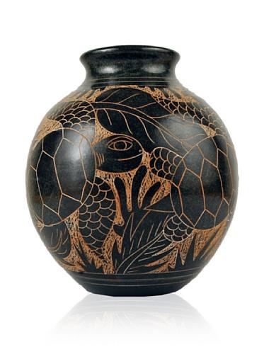 Chaka Turtle Globe Vase, Blue/Black, 7