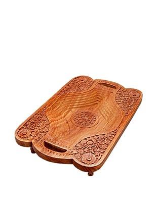 Mela Artisans Hand Carved Sheesham Wood Nobility Tray