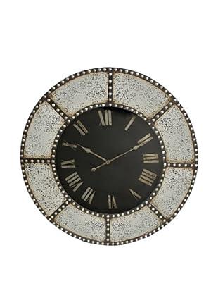 Three Hands Studded Wood Roman Numeral Wall Clock