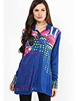 Blue Printed Knit Kurta Satya Paul