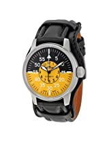 Fortis Flieger Automatic Cockpit Black and Yellow Dial Black Leather Men's Watch 595.11.14 (595.11.14 L01)