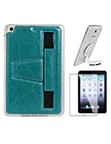 DMG Premium TPU Skin with PU Leather Hand Holder Cover Case For Apple iPad Mini / Mini 2 / Mini 3 (Blue) + Universal Octopus Swivel Stand Mount + Matte Screen
